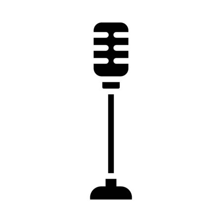retro microphone on stand icon over white background, silhouette style, vector illustration