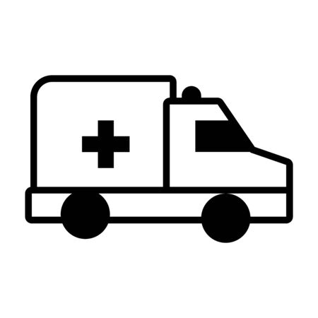 emergency ambulance icon over white background, line style, vector illustration