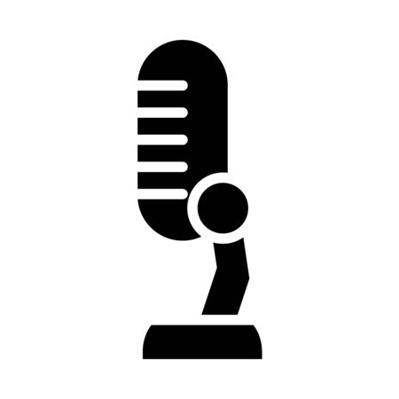 podcasting microphone icon over white background, silhouette style, vector illustration Stock fotó - 150559359