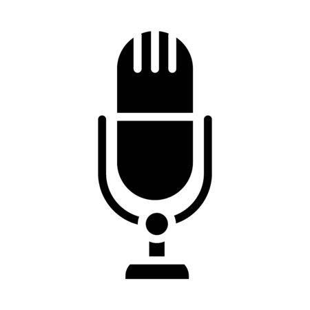 classic microphone icon over white background, silhouette style, vector illustration