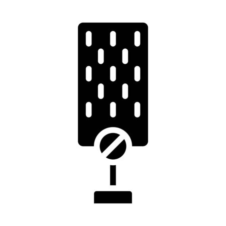 not voice symbol, microphone with forbidden sign icon over white background, silhouette style, vector illustration Illusztráció