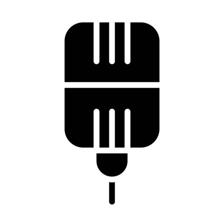 square mic icon over white background, silhouette style, vector illustration Stock fotó - 150559193