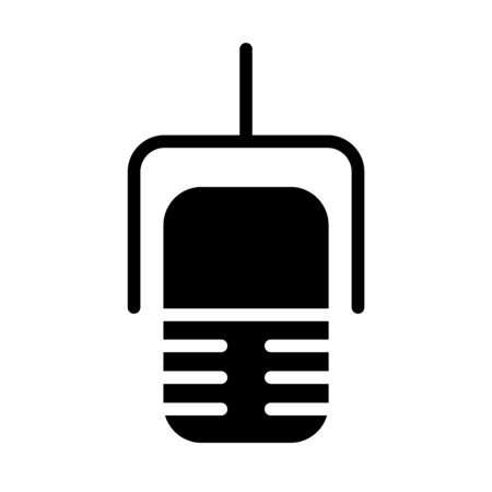 radio microphone icon over white background, silhouette style, vector illustration