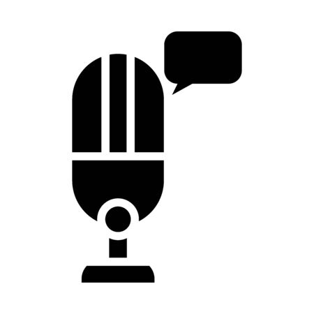 microphone and speech bubble icon over white background, silhouette style, vector illustration