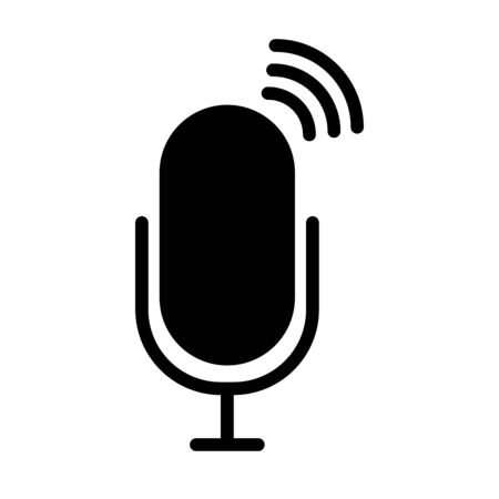 radio microphone on air icon over white background, silhouette style, vector illustration Illusztráció