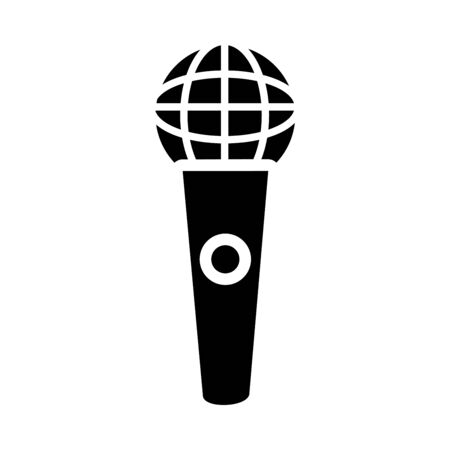 classic mic icon over white background, silhouette style, vector illustration
