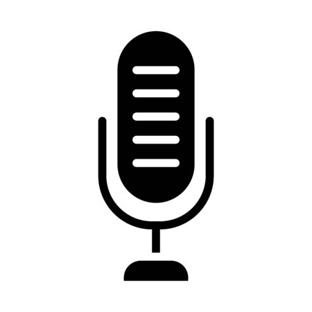 voice microphone icon over white background, silhouette style, vector illustration Stock Illustratie