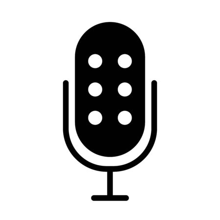 microphone with dots icon over white background, silhouette style, vector illustration