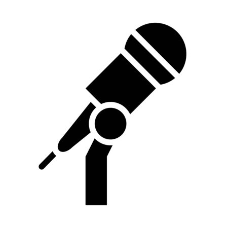 stand with microphone icon over white background, silhouette style, vector illustration Иллюстрация
