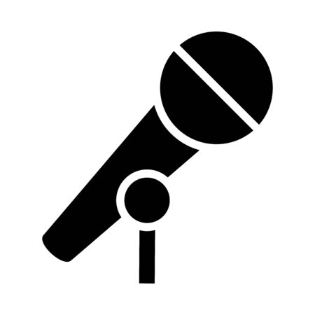 microphone icon over white background, silhouette style, vector illustration Иллюстрация