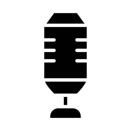 squared microphone icon over white background, silhouette style, vector illustration