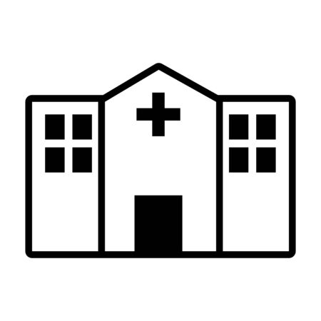 hospital building icon over white background, line style, vector illustration