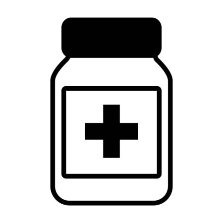 medication bottle icon over white background, line style, vector illustration