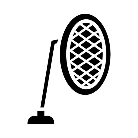studio microphone icon over white background, silhouette style, vector illustration Stock Illustratie