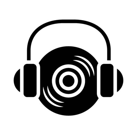 music vynil with headphones icon over white background, silhouette style, vector illustration Stock Illustratie