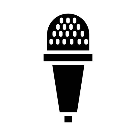dynamic microphone icon over white background, silhouette style, vector illustration Stock Illustratie