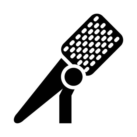 stand with microphone icon over white background, silhouette style, vector illustration Stock Illustratie