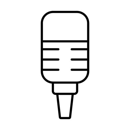 stand with microphone retro over white background, line style, vector illustration
