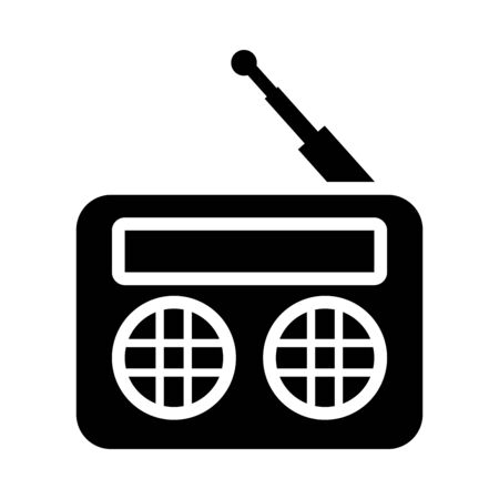 retro radio icon over white background, silhouette style, vector illustration