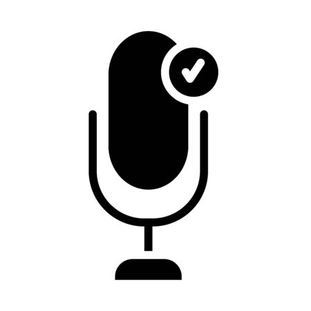 microphone with check symbol icon over white background, silhouette style, vector illustration