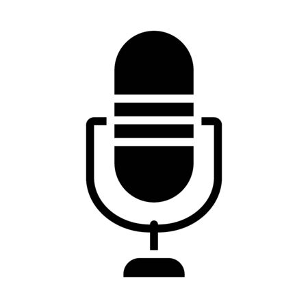 retro microphone icon over white background, silhouette style, vector illustration