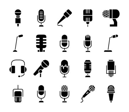 headphones and microphones icon set over white background, silhouette style, vector illustration Stock Illustratie