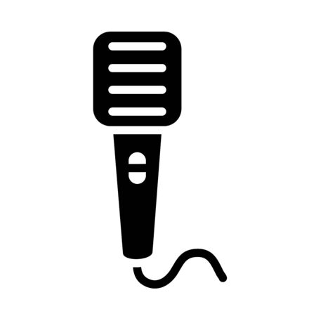 retro microphone with cord icon over white background, silhouette style, vector illustration