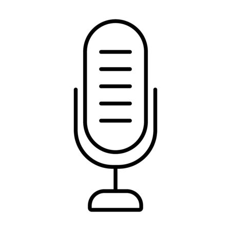 voice microphone icon over white background, line style, vector illustration Stock Illustratie