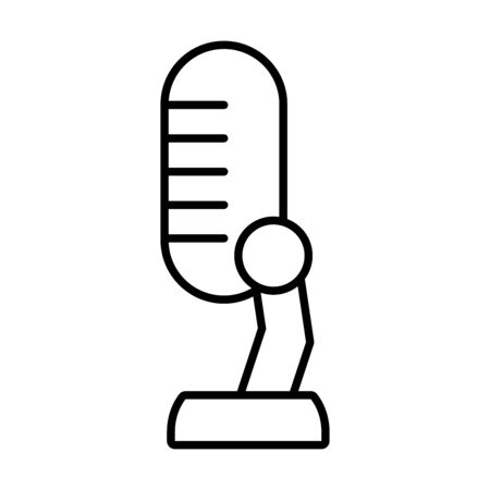 podcasting microphone icon over white background, line style, vector illustration