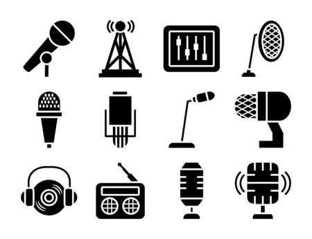 desk microphone and microphones icon set over white background, silhouette style, vector illustration Stock Illustratie