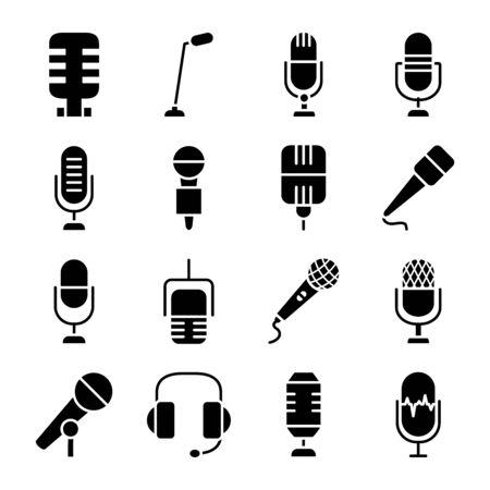 headphones and retro microphone icon set over white background, silhouette style, vector illustration Vektorgrafik