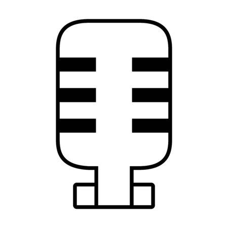 retro microphone icon over white background, line style, vector illustration