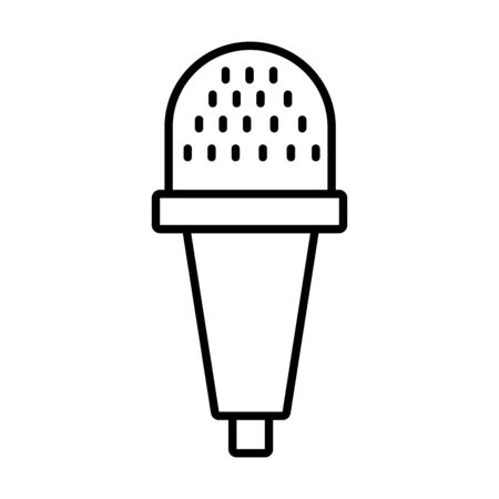 dynamic microphone icon over white background, line style, vector illustration