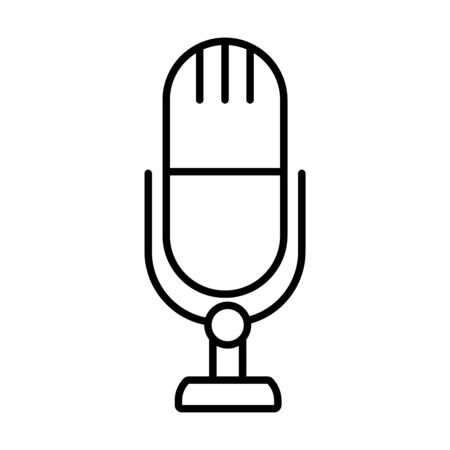 classic microphone icon over white background, line style, vector illustration
