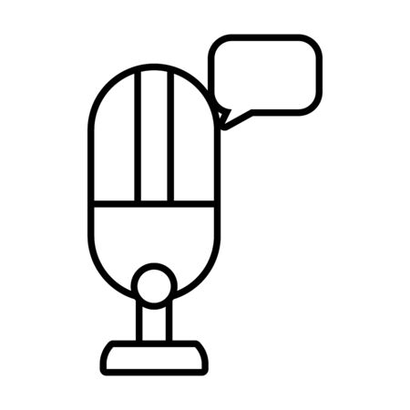microphone and speech bubble icon over white background, line style, vector illustration