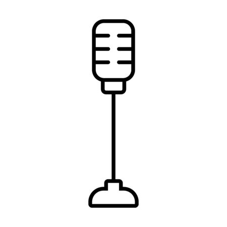 retro microphone on stand icon over white background, line style, vector illustration