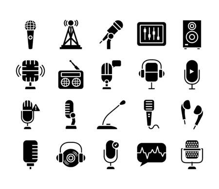 conference microphone and retro microphone icon set over white background, silhouette style, vector illustration