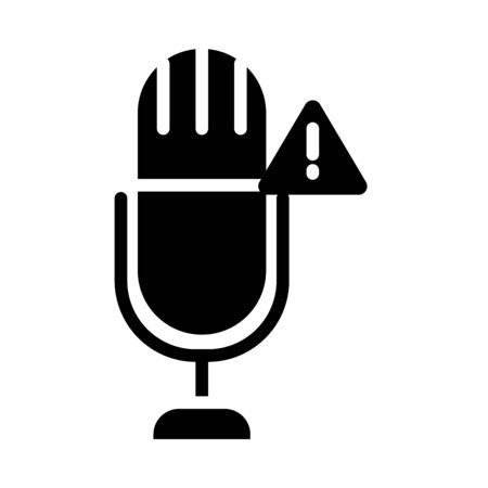 microphone with warning alert symbol icon over white background, silhouette style, vector illustration