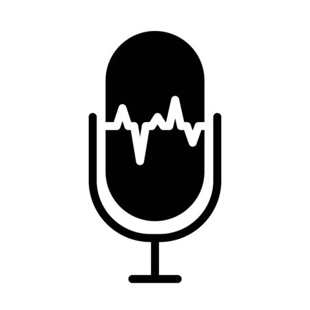 sound retro microphone icon over white background, silhouette style, vector illustration