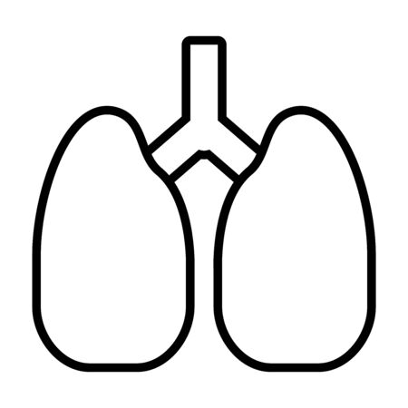 lungs organ icon over white background, line style, vector illustration Stock Illustratie