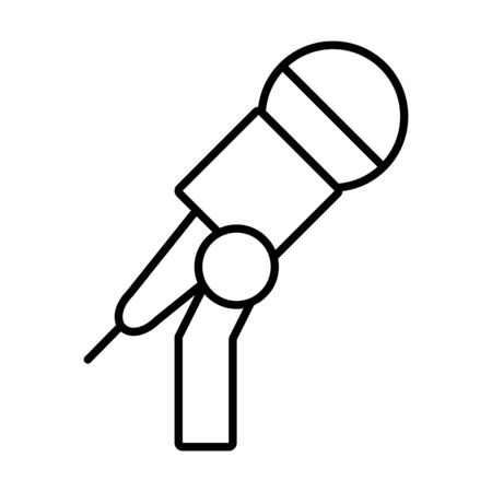 stand with microphone icon over white background, line style, vector illustration