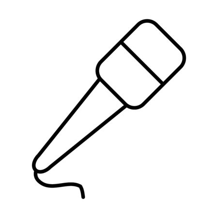 microphone with cord icon over white background, line style, vector illustration