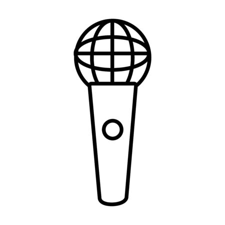 classic mic icon over white background, line style, vector illustration Stock Illustratie