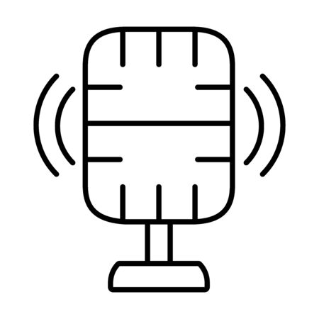 recording microphone icon over white background, line style, vector illustration Иллюстрация