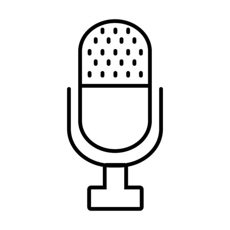 classic retro microphone icon over white background, line style, vector illustration