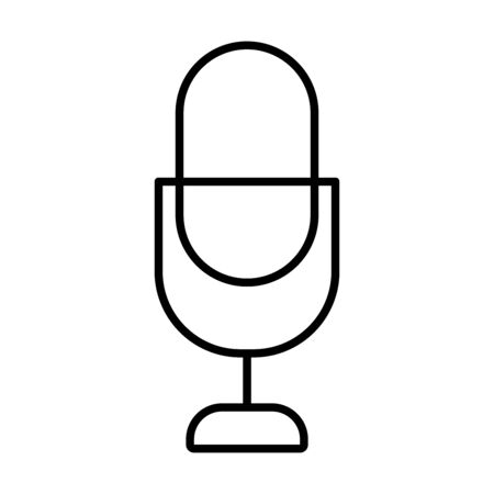 retro mic icon over white background, line style, vector illustration