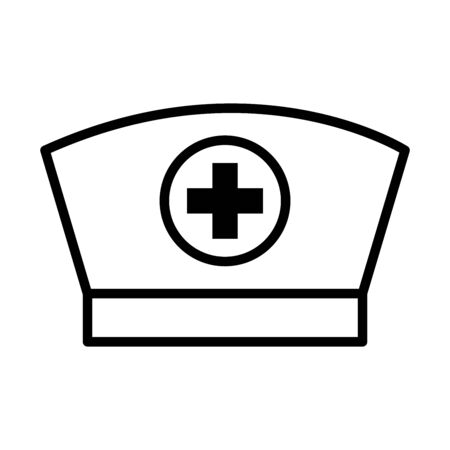 nurse cap icon over white background, line style, vector illustration