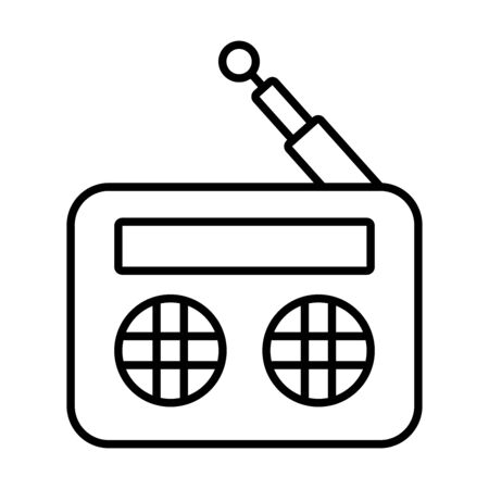 retro radio icon over white background, line style, vector illustration