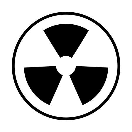 nuclear symbol icon over white background. line style vector illustration