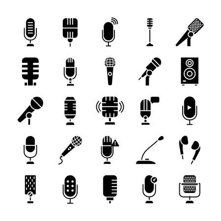 retro microphones and microphones icon set over white background silhouette style vector illustration.